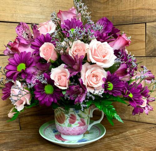 Lovely Tea-Cup and Saucer Bouquet