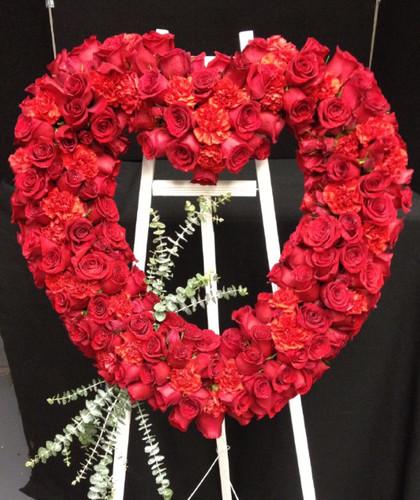Forever loved red rose heart easel