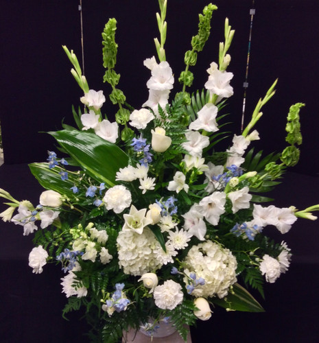 Traditional Sympathy and Wedding Celebration Arrangement in Blues and Whites