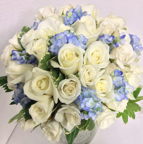 Bridal Bouquet in Creamy Whites and Blues