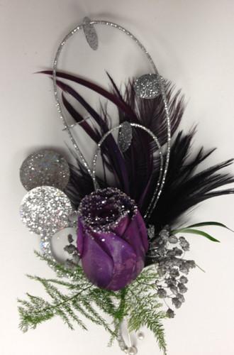 Glitzy Boutonnière in Black Purple and Silver