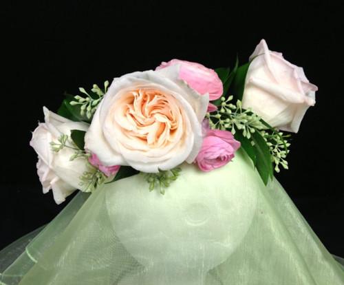 Garden Rose and Ranunculus Bridal Head Wreath