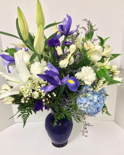 Blue and Beautiful Vase Arrangement