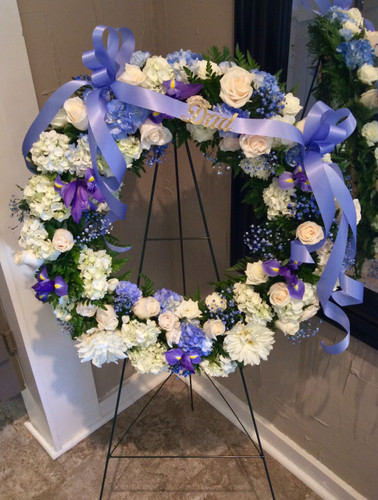 Memorable Tribute Wreath in Blues and Creams