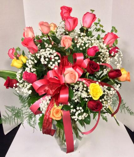 3 Dozen Longstemmed Premium Ecuadorian Multi-Colored Rose Arrangement