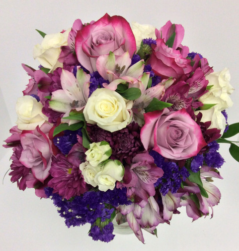 Hand-Tied Round Bouquet in Purples, Lavenders, and Creams