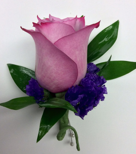 Lavender Rose and Purple Statice Boutonnière