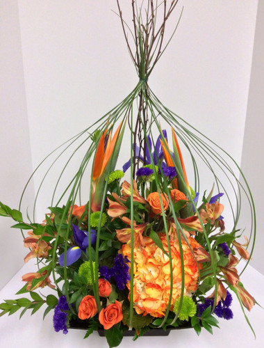 Stylish Bird Cage in Purples, Oranges, and Greens