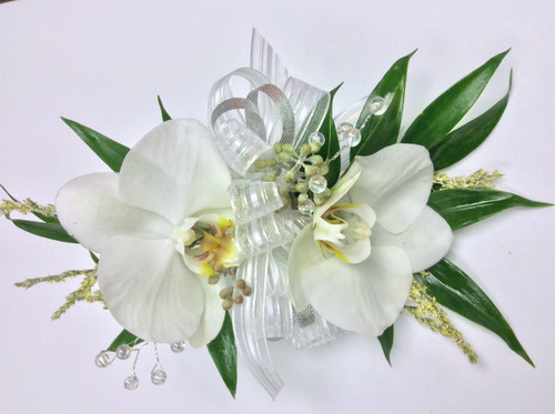 Double White Phaleonopsis Orchid Corsage with Ruscus and Filler