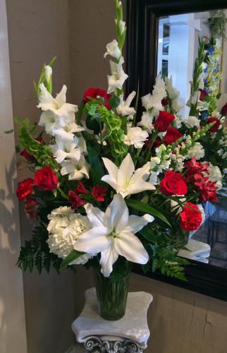 Crimson, Red, and White Gorgeous Garden Vase