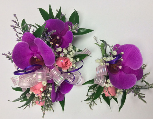 Easter Orchids Corsage and Boutonnière Combo