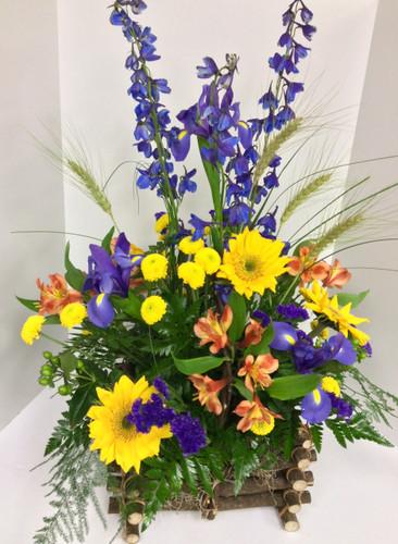 Sunflower and Iris Wildflower Garden Basket