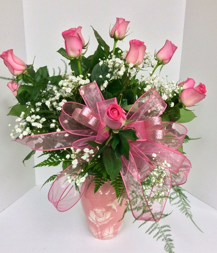 Hummingbird Vase with dozen Pink roses