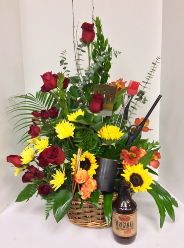 Barbeque Lovers Fresh Basket Arrangement with 25.00 City Barbeque Gift Card and Grilling Utensils