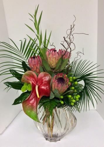 Tropical Protea Garden Contemporary Fresh Vase