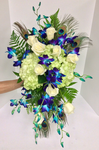 Garden Cascade with Bomb Blue Orchids and Peacock Feathers