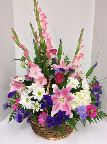 Pastel Pink and Purple Garden Basket