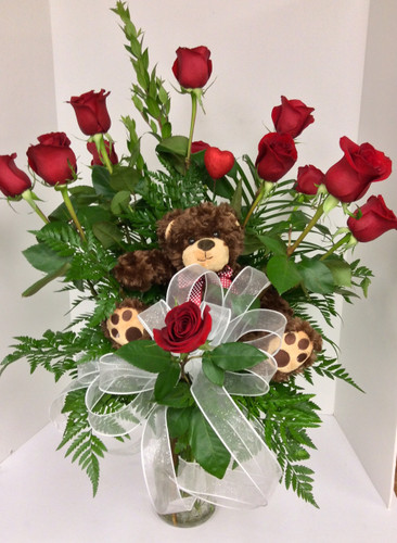 Beary Beautiful Red Rose Arrangement
