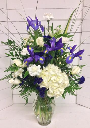 Blue and White Garden Berry Vase Arrangement