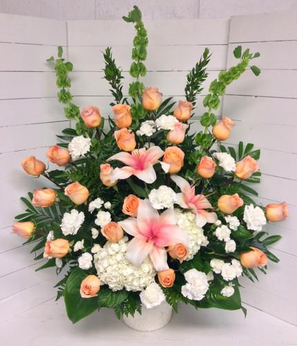 Peaches and Cream Fresh Celebration Of Life Arrangement