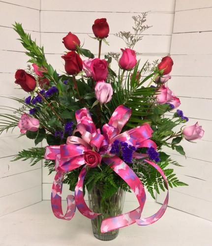 Two Dozen Longstemmed Premium Ecuadorian Roses Arranged in Mixed Jewel Tone Colors