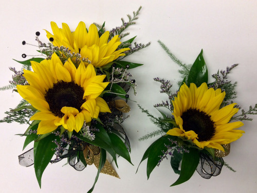 """Mini Sunflower"" Wrist Corsage and Boutonniere Combo"