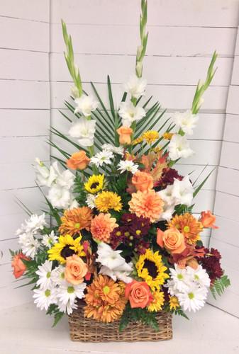 Fresh fiery Sunflower autumn basket