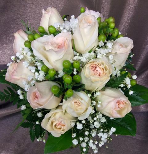 "Hand Tied Bouquet with a Dozen ""White Ohara"" David Austin Roses"