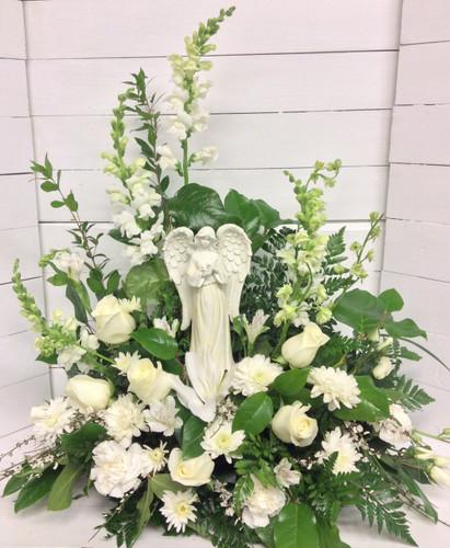 Beautiful Angel in a White Garden