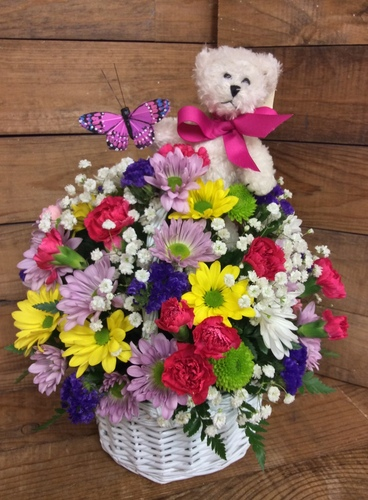 Teddy Bear and Butterfly Spring Basket Arrangement