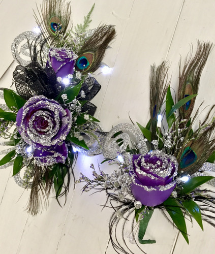 """Purple and Peacock"" Glitzy Corsage and  Boutonnière Combo with LED lights"