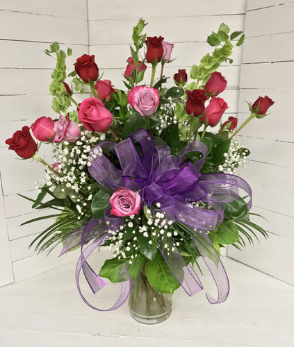 Deep Purple, Hot Pink, and Bright Red Two Dozen Premium Longstemmed Ecuadorian Roses Arranged