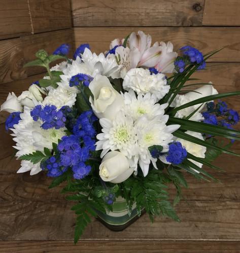Delphinium Blue and Creamy White Cube