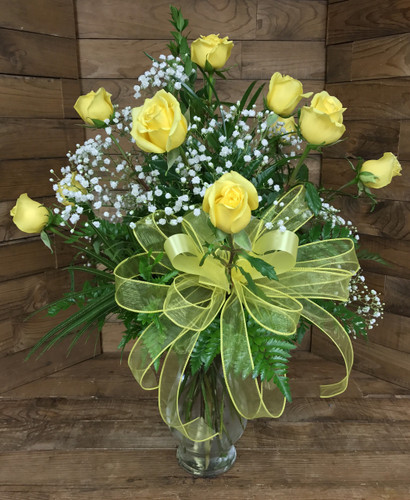Dozen Premium Longstemmed Yellow Roses Arranged with Wired Sheer Bow