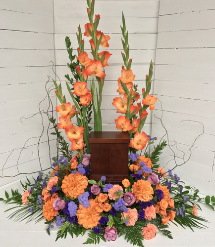 Stylish Urn Adornment in Complimentary Oranges and Blues