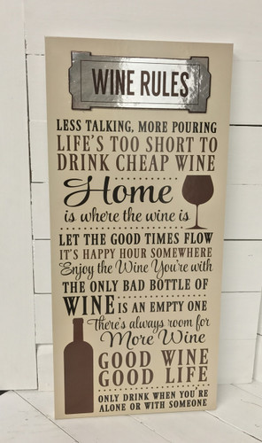 "22 1/2"" by 10"" wine rules sign"