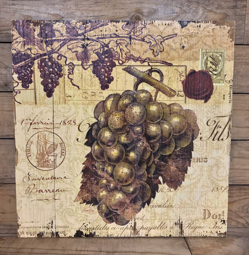 """16"""" by 16"""" light grapes wooden wine sign"""