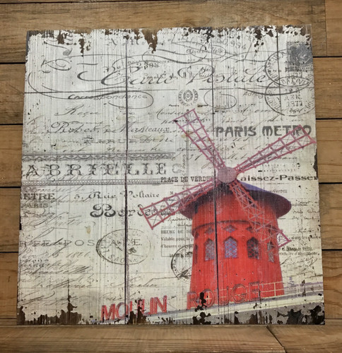 """16"""" by 16"""" French themed wooden sign"""