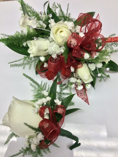 Red and White Dazzle and Bling wrist corsage and Boutonnière combo