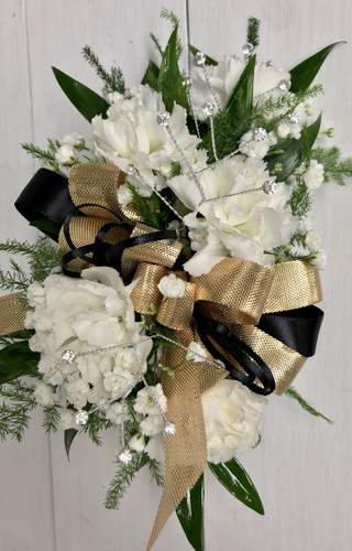 5 bloom mini carnation wrist corsage with shiny gold and black satin bow