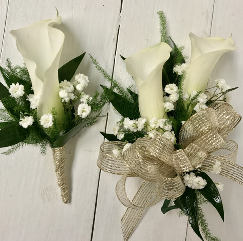 Mini calla and baby's breath wrist corsage and Boutonnière combo