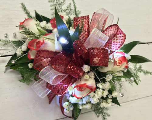 Tipped Sweetheart wrist corsage with LED lights