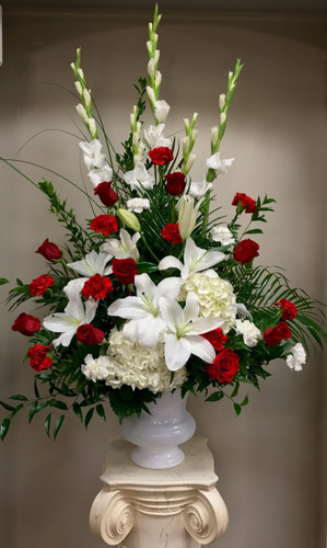 Classic Traditional Urn  in Reds and Whites