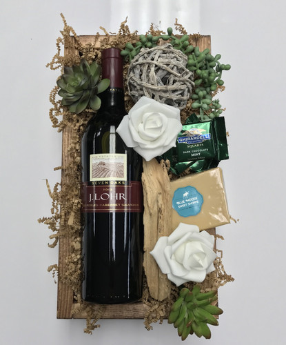 J Lohr Wine and Gift Box with Ghirardelli Chocolates, Fudge, and Succulents