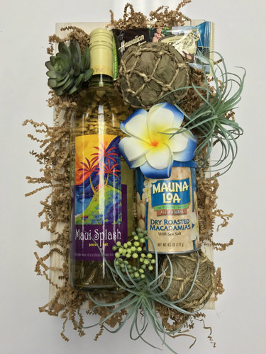 Hawaiian themed Wine and gift box with macadamia nuts, chocolates,  and Succulents