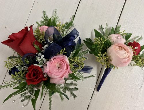 Rose and ranunculus Corsage and boutonnière combo