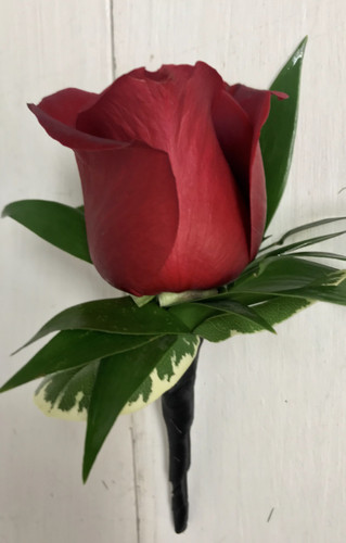 Red rose Boutonnière with black satin wrap