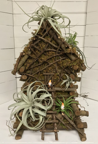 Large Handcrafted Fairy Garden House with Giant Airplants
