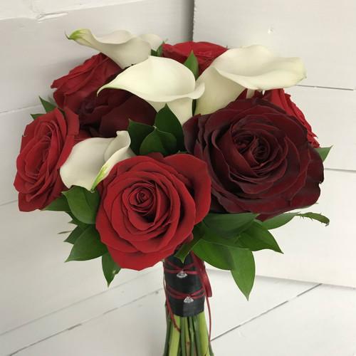 Calla Lily, Black Magic, and Bright Red Bridal Bouquet