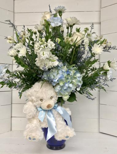 Baby Boy Blue and White Fresh Vase